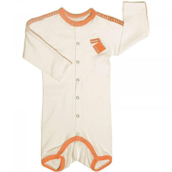 orange baby jumpsuit for baby with atopic skin
